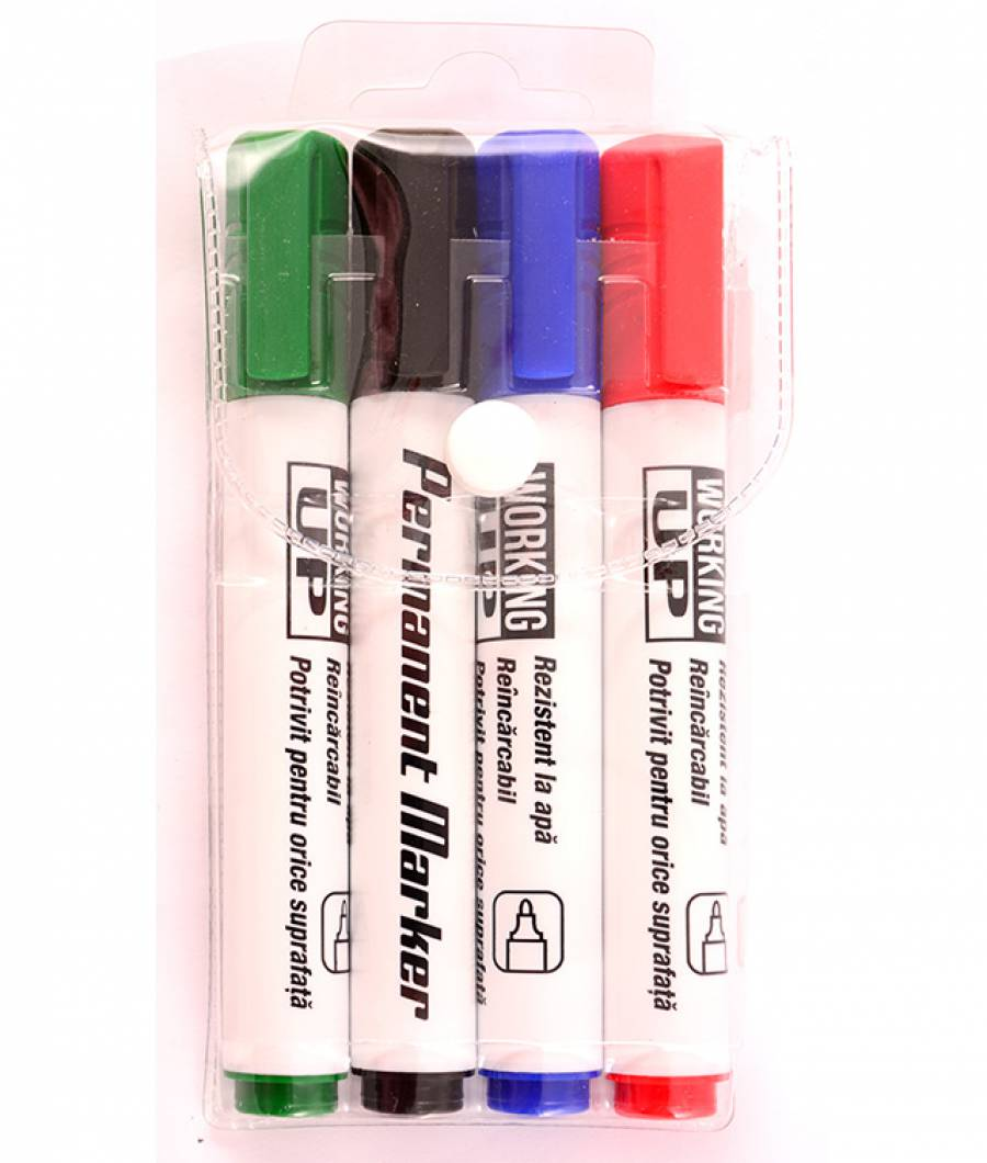 Permanent marker W-UP set 4 culori