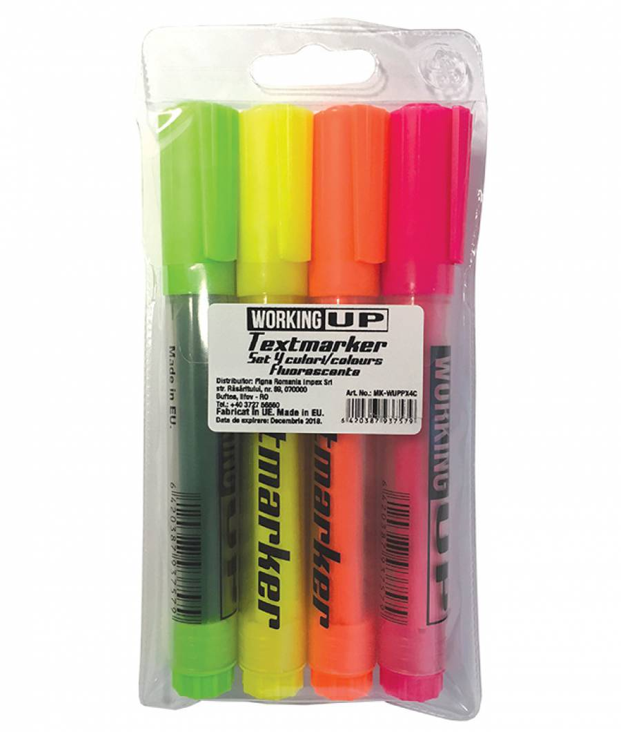 Textmarker W-UP set 4 fluorescent