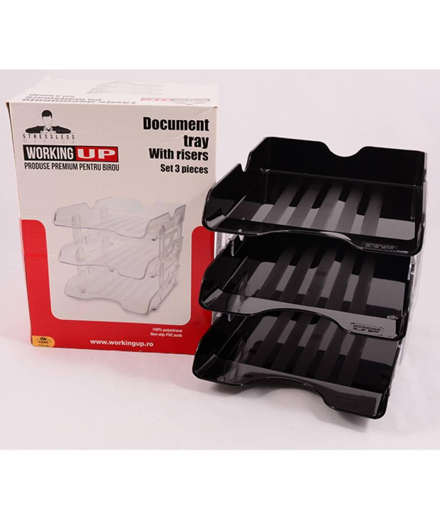 Set 3 tavite pentru documente cu inaltatoare, W-Up, negru